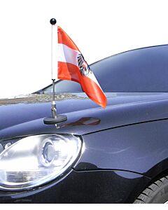 magnetisch haftender Autofahnen-Ständer Diplomat-1 Österreich mit Dienst-Wappen