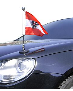 magnetisch haftender Autofahnen-Ständer Diplomat-1-Chrome Österreich mit Dienst-Wappen